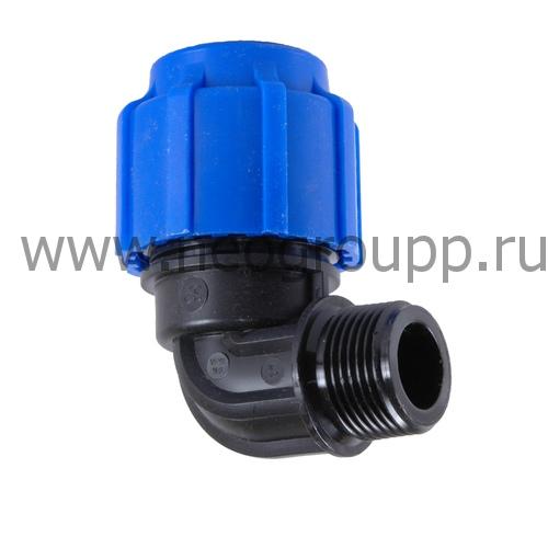 Отвод компрессионный с наружной резьбой 25*1 полипропилен