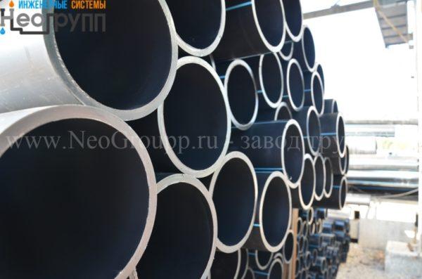 Труба ПНД 225 (12,8) вода отрезки ПЭ100 SDR17.6 завода НеоГрупп