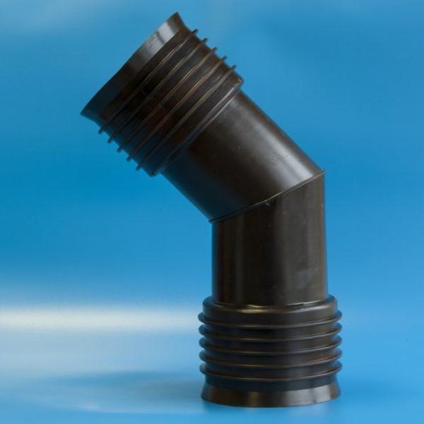 отвод для гофрированных двухслойных труб 30,45,60,90 градусов