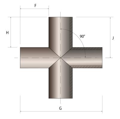 Крестовины сегментные сварные купить у производителя труб - чертеж.