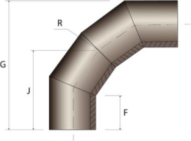 Отвод 4-ех сегментный, сварной - чертеж.