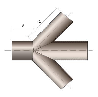 Крестовина сегментно-сварная 45° чертеж.