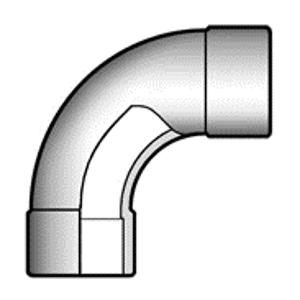 Плавный отвод ПВХ 90° чертеж