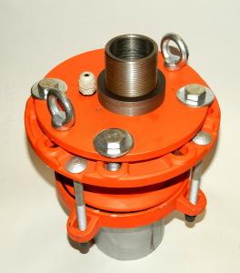 Оголовок скважинный обжимной герметичный с проходной муфтой под полиэтиленовые трубы большого диаметра ОГВ-375.000.00-4